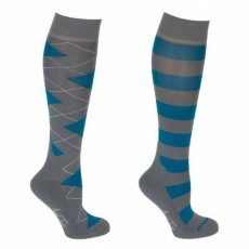 Mark Todd Women's Argyle & Stripe Twin Pack Long Socks (Petrol & Anthracite)