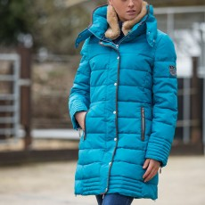 Mark Todd Women's Deluxe Long Padded Coat (Petrol Blue)
