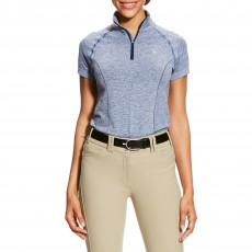 Ariat Women's Odyssey Seamless Short Sleeve 1/4 Zip (Indigo Fade Heather)