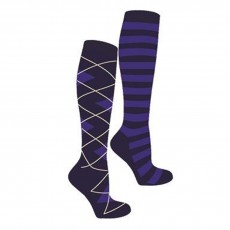 Mark Todd Women's Argyle & Stripe Twin Pack Long Socks (Navy/Royal)