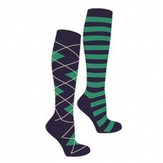 Mark Todd Women's Argyle & Stripe Twin Pack Long Socks (Navy/Jade)