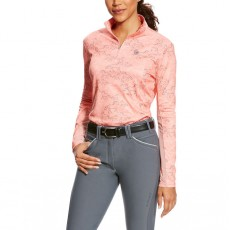 Ariat (Sample) Women's Sunstopper Quarter Zip Top (Peach Twig Print)