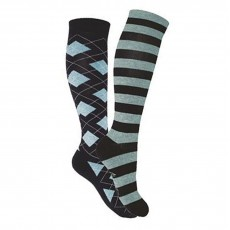 Mark Todd Women's Argyle & Stripe Twin Pack Long Socks (Navy & Sky Blue)