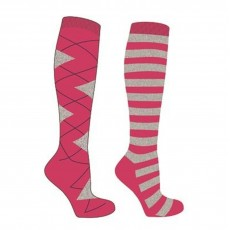 Mark Todd Women's Argyle & Stripe Twin Pack Long Socks (Fuchsia/Grey)