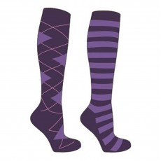 Mark Todd Women's Argyle & Stripe Twin Pack Long Socks (Purple & Lilac)