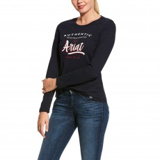 Ariat Women's Script Logo Long Sleeve T-Shirt (Navy)