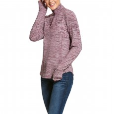 Ariat Women's Gridwork 1/2 Zip Long Sleeve Base Layer (Grape Wine)