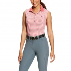 Ariat (Sample) Women's Prix Sleeveless Polo (Frayed Red Stripe)