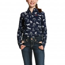Ariat Girl's Lowell 2.0 1/4 Zip Long Sleeve Base Layer (Shadow Pasture)