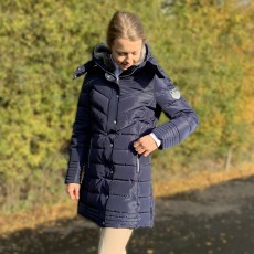 Mark Todd Women's Deluxe Long Padded Coat (Navy/Rose Gold)