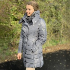 Mark Todd Women's Deluxe Long Padded Coat (Grey/Silver)