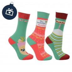 Hy Children's Christmas Socks 3pk (Christmas Red, Emerald & Gold)
