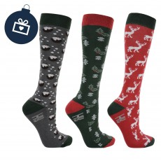 Hy Christmas Puddings, Stags & Holly Socks 3pk (Slate, Red, Thyme Green & Chocolate)