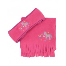 Little Rider Girl's Little Unicorn Head Band and Scarf Set (Navy & Pink)