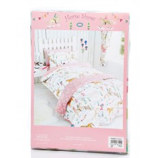 Horse Printed Duvet Set Single (White & Pink)