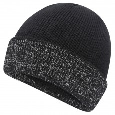 Mersey Mens Fold Over Beanie with Reflective Yarn (Black)