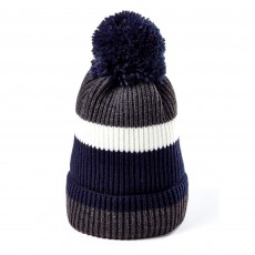Clayton Men's Bobble Hat (Blue Block Stripe)