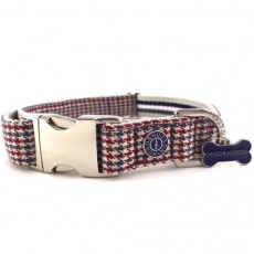 Hugo & Hudson Dog Collar (Houndstooth Red/Blue)