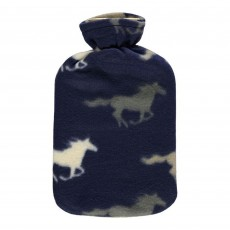 Horse Fleece Covered Hot Water Bottle (Navy)
