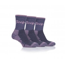Jeep Ladies Luxury Cushion Boot Socks Purple/Rose 3 Pack