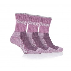 Jeep Ladies Luxury Cushion Boot Socks (Rose/Cream) 3 Pack