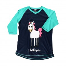 LazyOne Womens I Believe Unicorn PJ Tall T Shirt