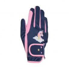 Little Rider Little Unicorn Childrens Riding Gloves  (Candy Pink/Navy)