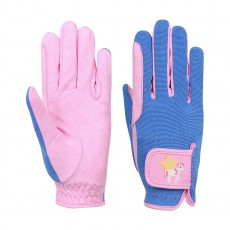 Little Rider Star in Show Children's Riding Gloves  (Prism Pink/Regatta Blue)