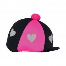 Little Rider Love Heart Glitter Hat Cover  (Hot Pink/Black)