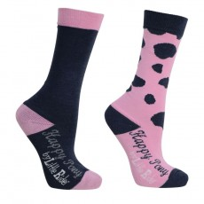 Little Rider Molly Moo Socks (Pack of 2)  (Sachet Pink/Black Iris)