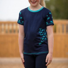 Mark Todd Kids Short Sleeve Tee (Navy/Aqua)