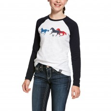 Ariat (Sample) Girl's Running Horse Long Sleeve T-Shirt (White)