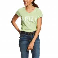 Ariat (Sample) Women's Block Logo Tee (Lime Chaser Heather)