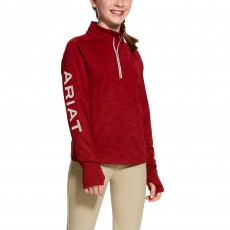 Ariat (Sample) Girl's Tek Team 1/2 Zip Sweatshirt (Laylow Red)