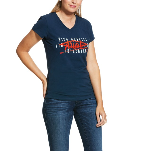 Ariat Women's Crop Logo T-Shirt (Deep Petroleum)