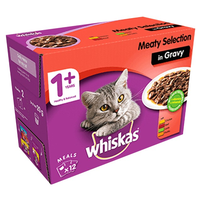 Whiskas 1+ Cat Pouches (Meat Selection In Gravy) 12 x 100g
