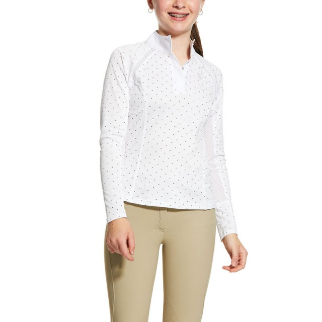 Ariat Girl's Sunstopper 2.0 Show Shirt (White/Grey Dot)