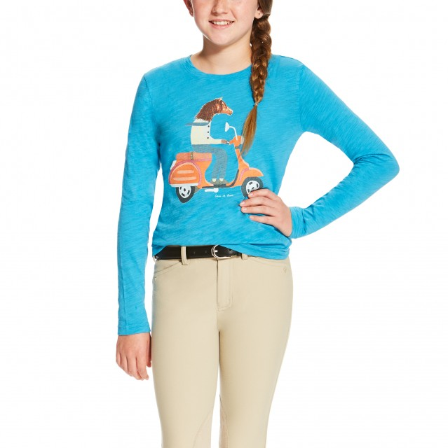 Ariat Girl's Scootin Tee (Barrier Blue)