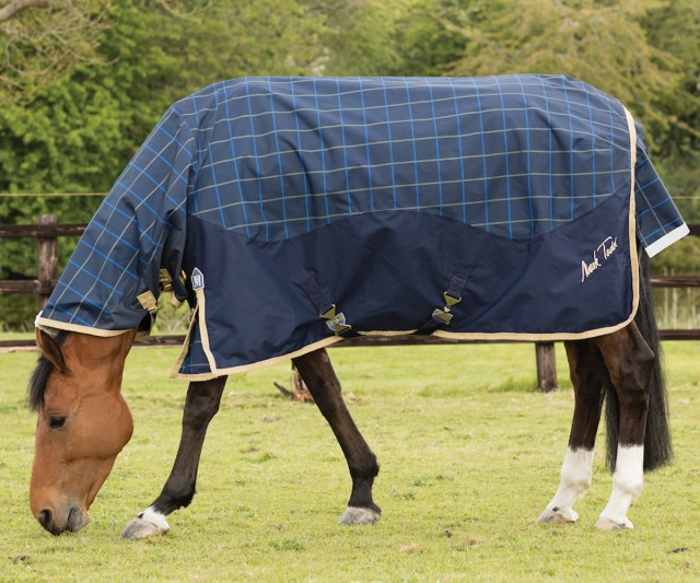 Mark Todd Lightweight Combo Turnout Rug Plaid (Navy/Beige/Royal)