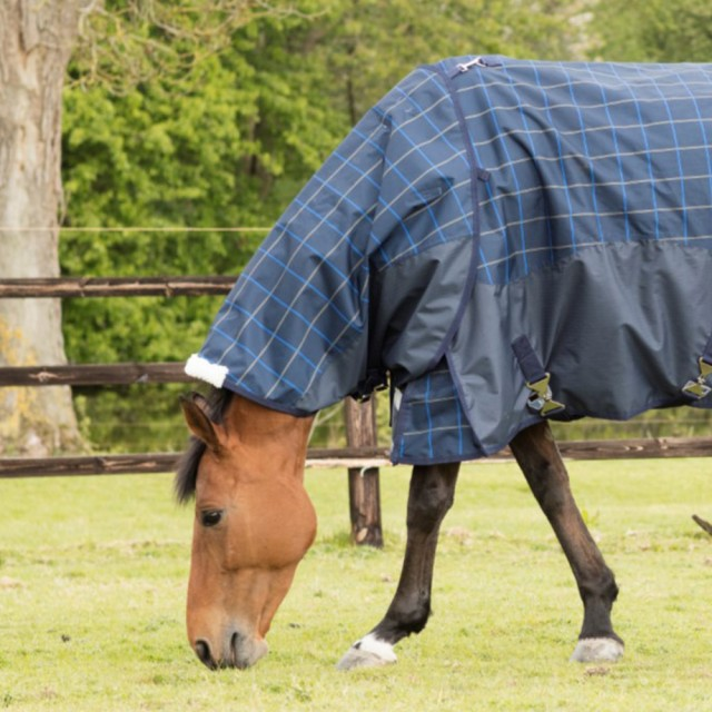 Mark Todd Lightweight Turnout Neck Cover Plaid (Navy, Beige & Royal)