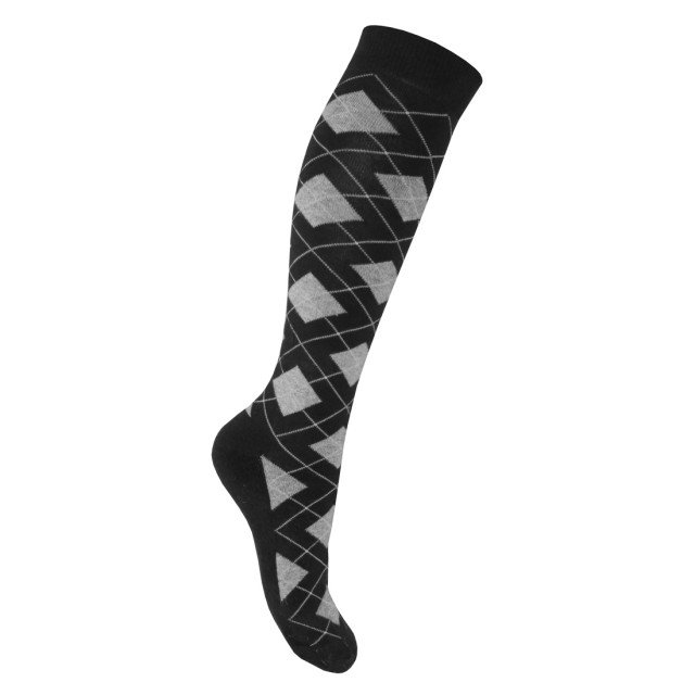 Mark Todd Women's Argyle & Stripe Twin Pack Long Socks (Black & Grey)