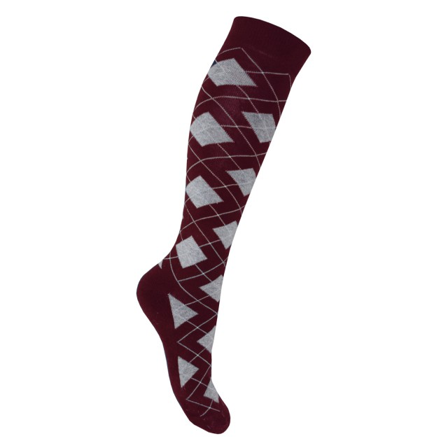 Mark Todd Women's Argyle & Stripe Twin Pack Long Socks (Burgundy & Grey)