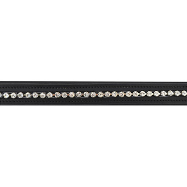 JHL Large Round Clear Diamante Browband (Black)