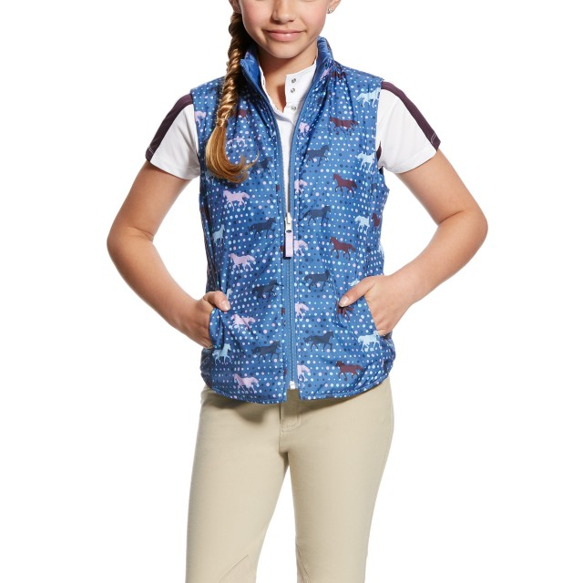 Ariat Girl's Emma Reversible Vest (Blue Saga Trot)