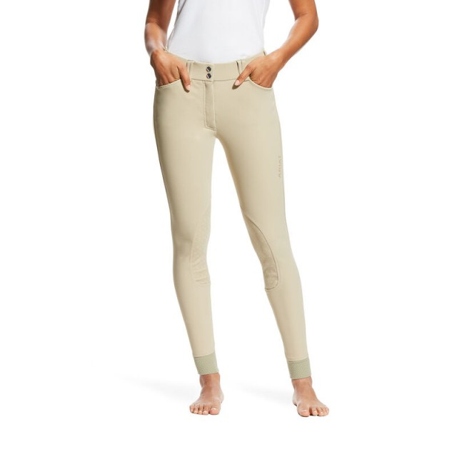 Ariat Women's Tri Factor Grip Knee Patch Breeches (Tan)
