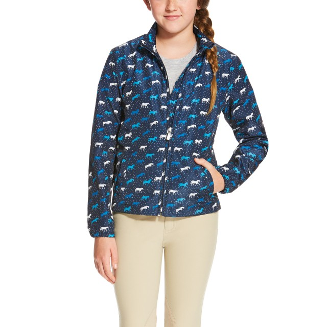Ariat (Sample) Girl's Laurel Jacket (Navy Horse Print)