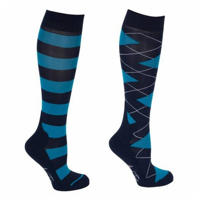 Mark Todd Women's Argyle & Stripe Twin Pack Long Socks (Navy & Petrol)
