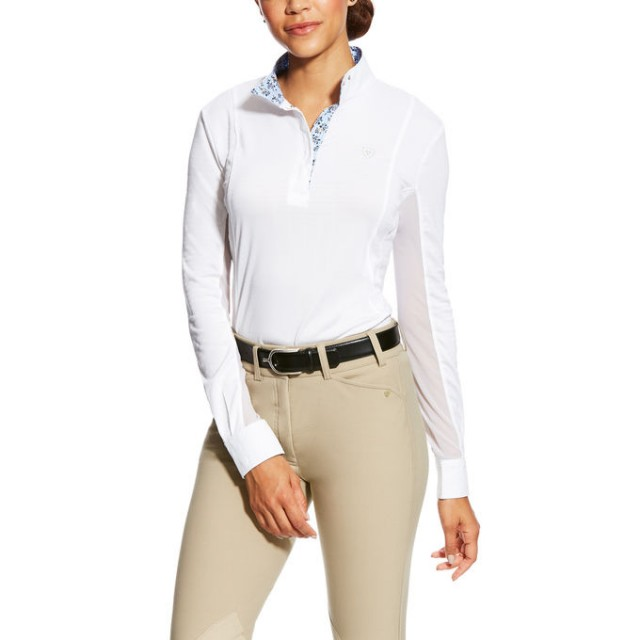 Ariat Women's Sunstopper Pro Show Shirt (White Mesh Stripe)