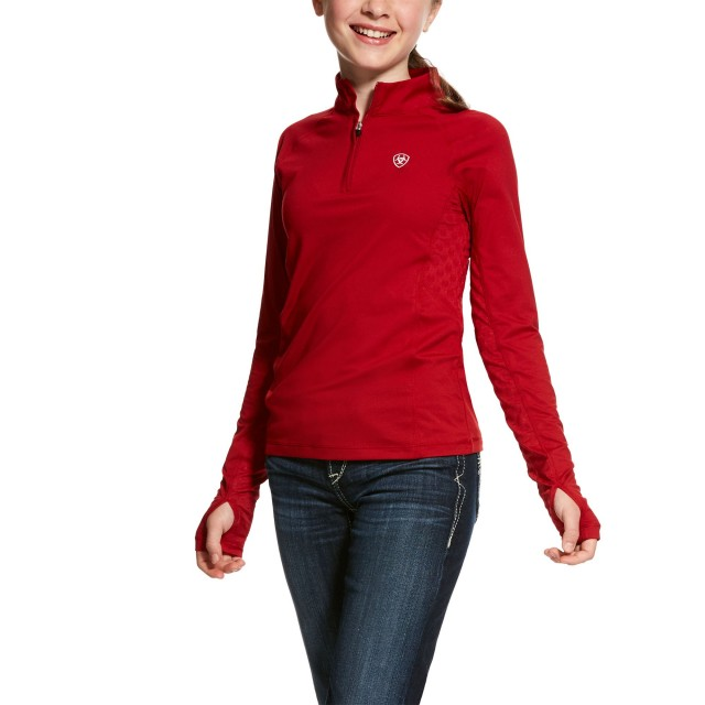 Ariat (Sample) Girl's Lowell 2.0 1/4 Zip Long Sleeve Base Layer (Laylow Red)
