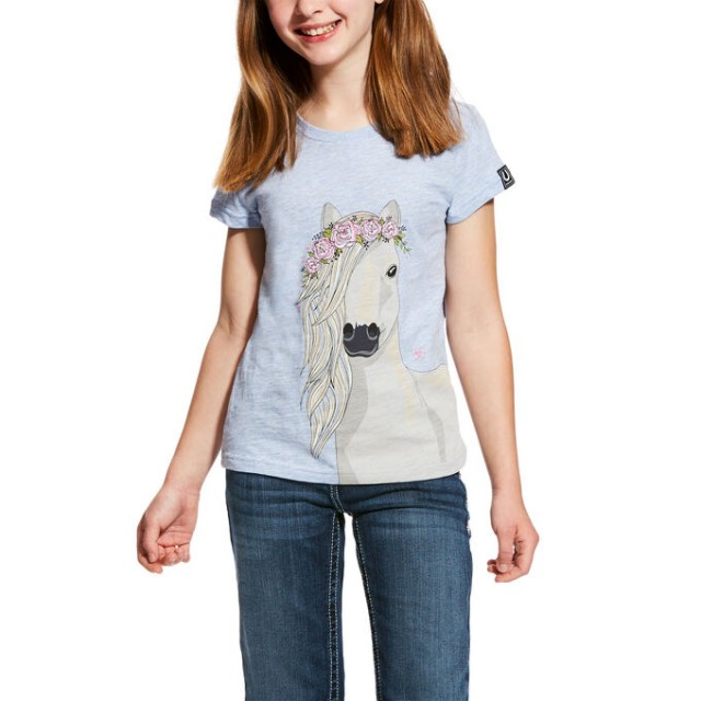 Ariat (Sample) Girl's Festival Horse Tee (Chambray Heather)